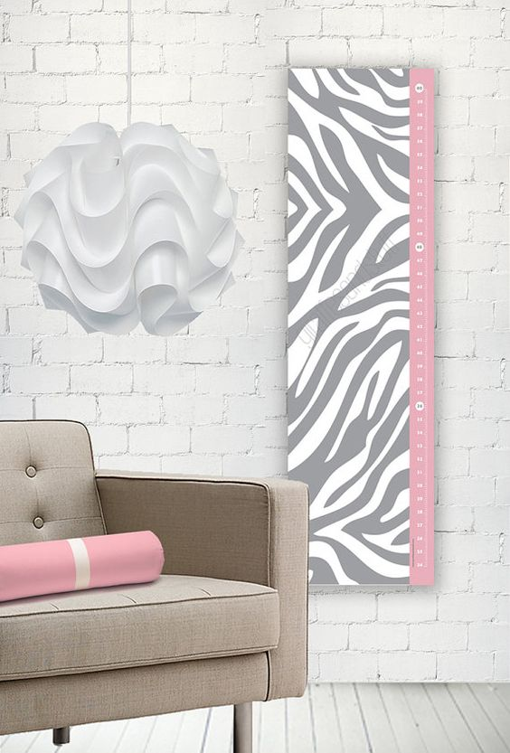 Zebra Print Growth Chart   Modern Growth Height  by giraffesnstuff, $35.00