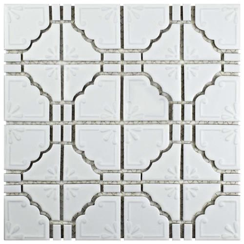 Moonbeam Matte White 11 3 4 X11 3 4 Porcelain Mos Porcelain Mosaic Tile Porcelain Mosaic Mosaic Flooring