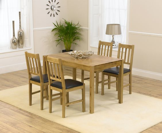 Oxford 120cm Solid Oak Dining Set with Oxford Chairs