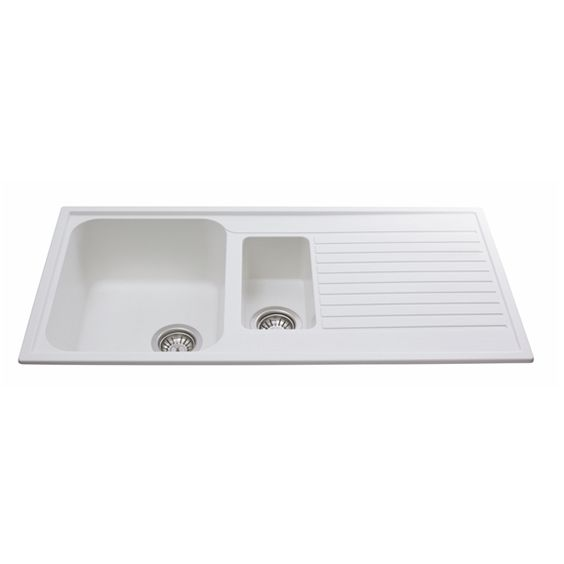 CDA AS2WH 1.5 Bowl Composite Kitchen Sink In White - Fully Reversible
