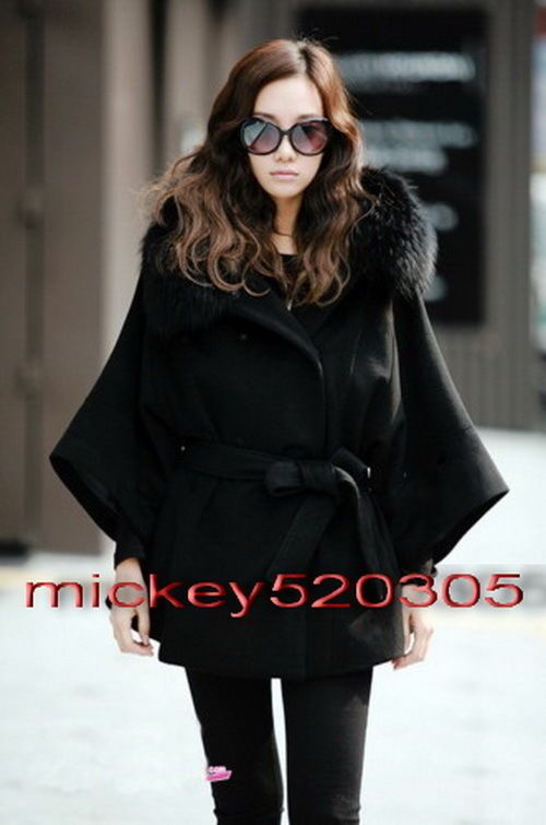 Details about Women's Fur Collar Cashmere Black Wool Poncho Coat