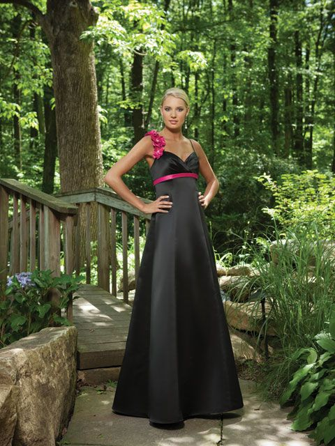 Super cute dress and my favourite colours, black and pink ~ Spaghetti strap A-line satin bridesmaid gown
