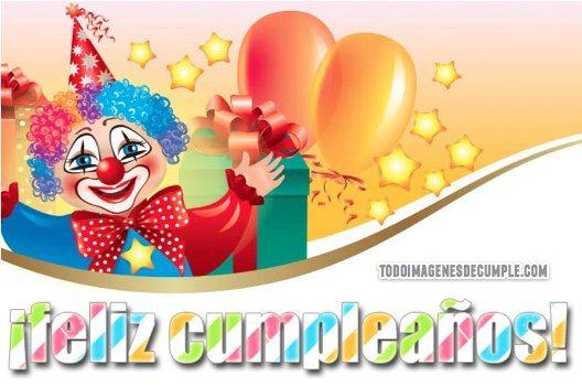 Imágenes de feliz cumpleaños con payasos y globos.