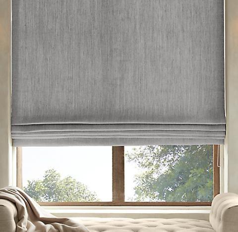 Roman Shade 066 Linen Flat Roman Shade Bamboo Blinds Living