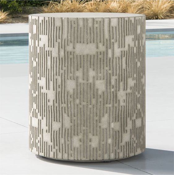 Sale Ends Soon Shop Cast Large Concrete End Table A Smooth Top And Recessed Plinth Base Offer Beautiful Outdoor Accent Table Concrete Coffee Table End Tables