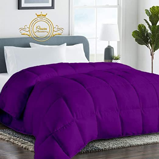 Purple Luxurious Goose Down Comforter Oversized Queen Size 98 X 98 Inches 1 Piece All Season Duvet Insert 500 Gs Down Comforter Hotel Collection Duvet Insert
