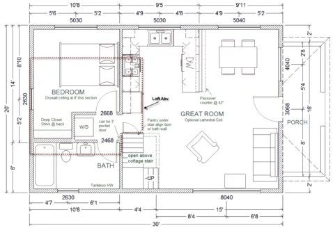 Pin By Lori On Floor Plans One Bedroom Cabin Floor Plans Loft Floor Plans House Plan With Loft