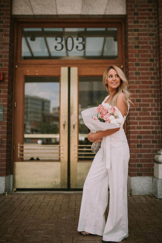 Adorable white chino jumpsuit from Anthropologie and a cute little blog post to go right along with it! | All White Flowers | Fashion Blog | The Magazine Series | by Lauren Parker