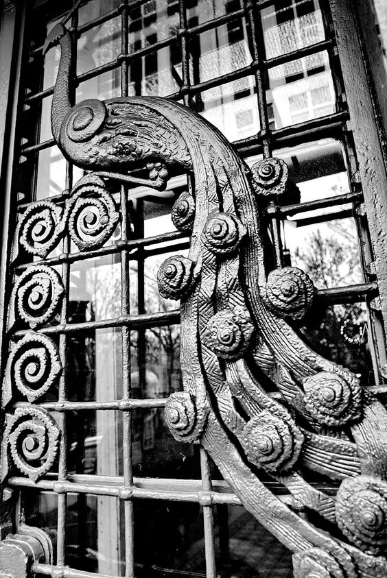 Architectural detail. Art Nouveau peacock on building in Budapest.