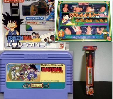 ドラゴンボールのおもちゃ  1986年~  1986年からフジテレビ系列で放映された「ドラゴンボール」の 爆発的人気をうけて関連商品もヒットした。