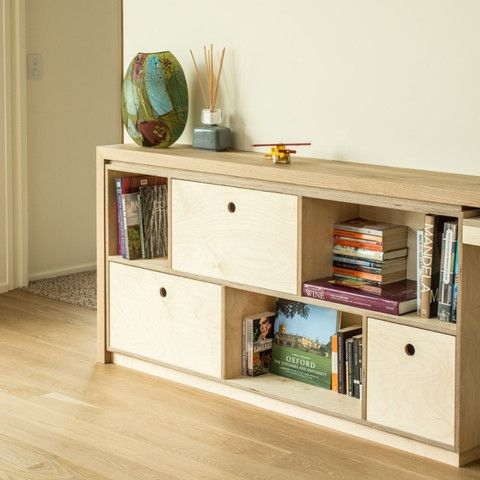 Combination of bookshelf and office storage made from birch ...