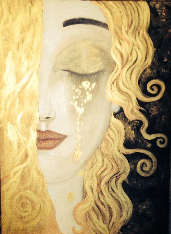 IT's NOT Gustav KLIMT WORK AT ALL!! | painting 'Larme d'or' by Anne Marie Zilberman | Imitation (Inspired) of Gustav Klimt.