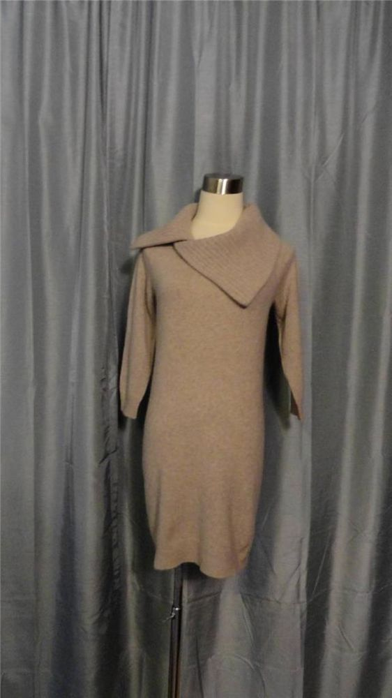 CYNTHIA ROWLEY CASHMERE Cowl Neck Long Sleeves 100% Cashmere Sweater Dress Sz S #CynthiaRowley #SweaterDress #Cashmere