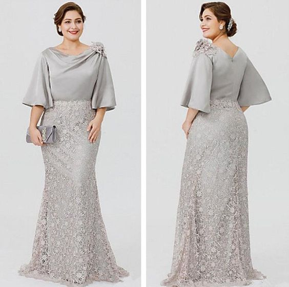Silver Plus Size Mother of the Bride Dresses Boat Neck Mermaid Half Length 2019#Bride#Dresses#Mother