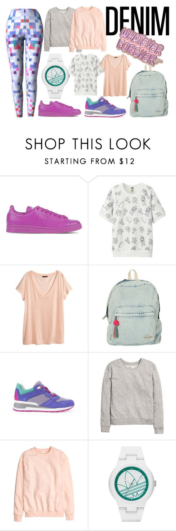 """80s inspired"" by kapotka ❤ liked on Polyvore featuring Raf Simons, Uniqlo, H&M, Billabong, Geox, adidas and Local Heroes"