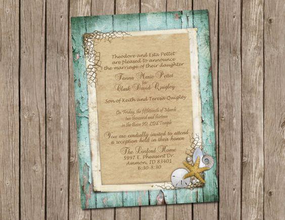 Beach Wedding or Bridal Shower Invitation with Rustic Wood Shells – Etsy Beach Wedding Invitations
