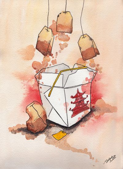 Tea Bags and Take out  by Natalie Woo   Art Print