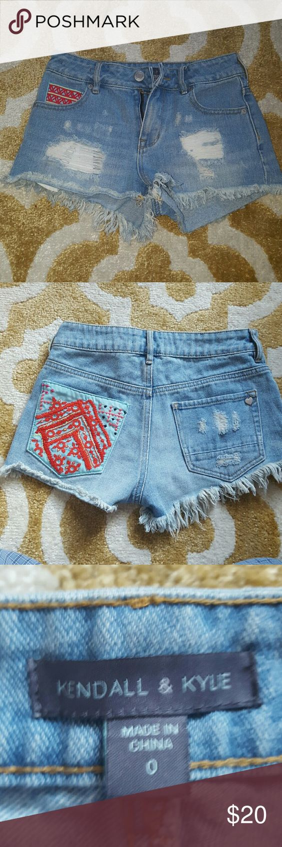 KENDALL & KYLIE DENIM HIGH WAISTED SHORTS Size 0, good condition! Kendall & Kylie Shorts Jean Shorts