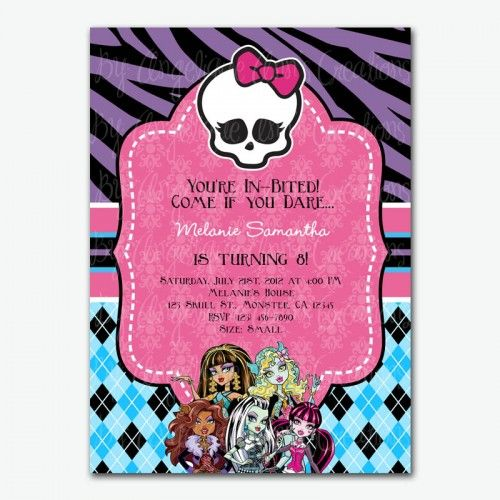 Monster High Invitations | Monster High Party Invitations |  Angeliqueannscreations   Digital Art ... | Nina | Pinterest | Evenementiel  Et Aurelie