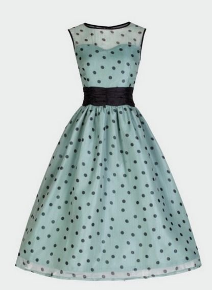 Pretty polka dots 50's dress http://www.bitterrootvintage.com/cindy-ethereal-sage-party-dress