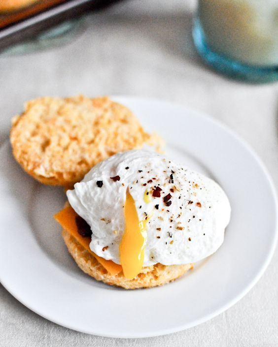 sweet potato breakfast biscuits with poached eggs