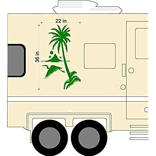 Palm Tree Heron Sunset Rv Camper Trailer Camping Decal Sticker Graphic Mural Custom Campers Rv Campers Traveling By Yourself