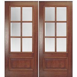 MAI Doors DD6L-2 Delta True Divided Lite, 6-Lite Panel Bottom Mahogany Exterior Double Door