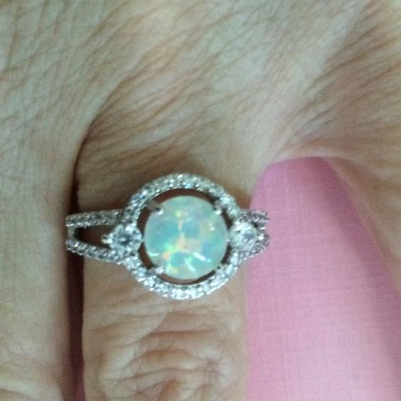 STERLING SILVER Stamped WHITE FIRE OPAL RING Pretty White Fire Opal Ring size 8 set in Sterling Silver with White Topaz stones around Jewelry Rings