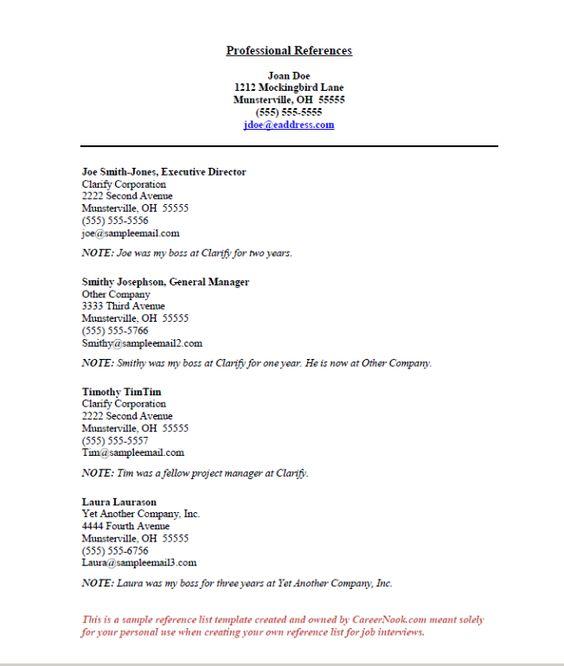 job reference list