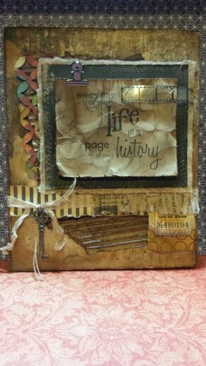 A piece of mixed media art I made this weekend in a class offered by my local scrapbooking shop. I had such a fun day!
