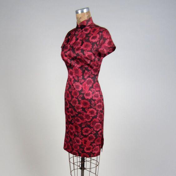 1960er Jahre Seide Cheongsam Kleid Vintage von MintageClothingCo