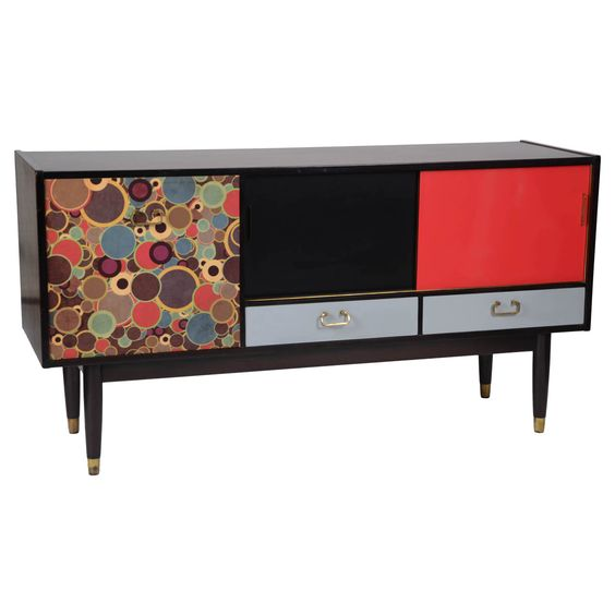 Teak And Ebonized Sideboard Featuring Colourlaminates and Graphic   From a unique collection of antique and modern sideboards at http://www.1stdibs.com/furniture/storage-case-pieces/sideboards/
