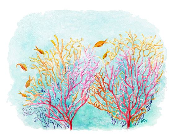 Sea Coral Watercolor Painting Fine Art Print 11 x 14 ...
