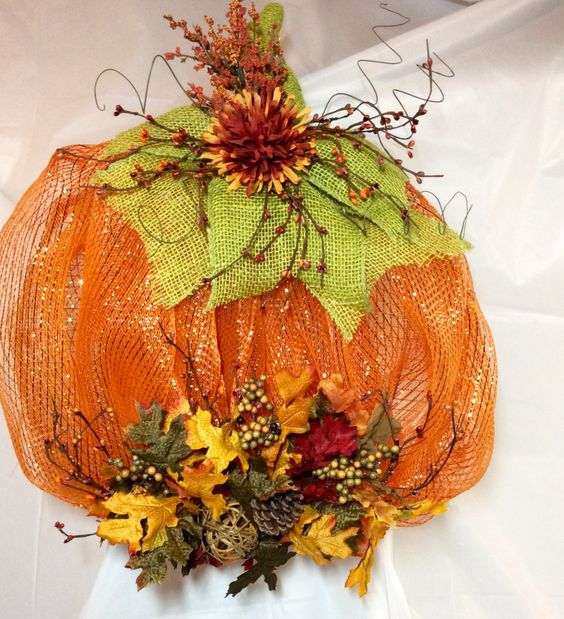 "Mesh pumpkin wreath. Oak leaves, fall seeds, mum, pip berries, pine cone, ting tangs, green burlap wired ribbon accent wreath. 18x22"" by KhQualityCreations on Etsy"