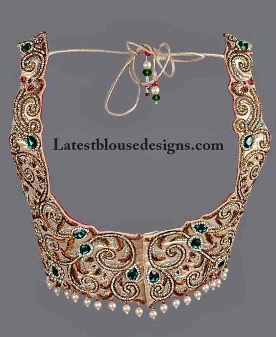 Stunning Stone Work Bridal Blouse   Latest Blouse Designs