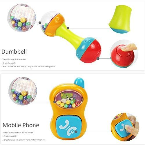 Iplay Ilearn 10pcs Baby Rattles Teether Shaker Grab And Spin Rattle Musical Toy Set Early Educational Toys Fo Baby Month By Month Baby Rattle Musical Toys