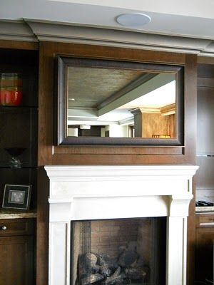 How to frame your flat screen TV.  This has a two-way mirror inside.  When TV is off - it's a mirror.  When TV is on - it's a TV