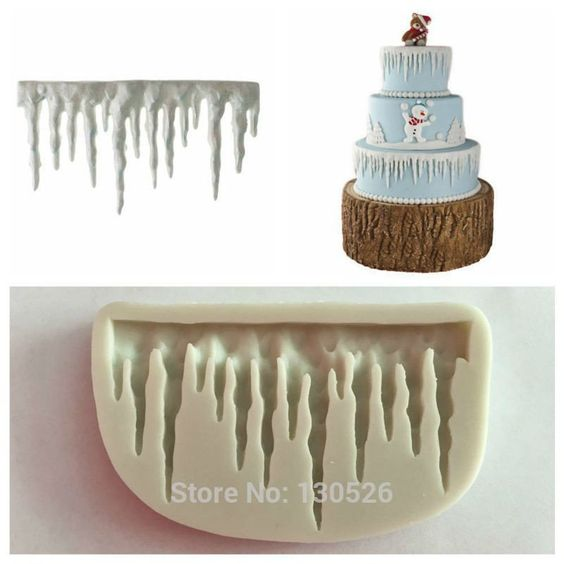 Christmas Cake Decoration Molds : Icicles Cake Decoration Silicone Mold Icicle Border ...