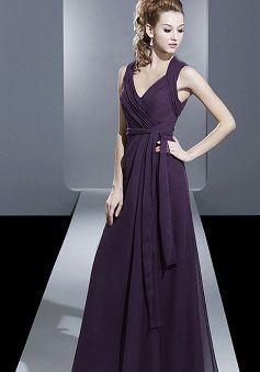 Stunning A line Floor Length Chiffon Natural Waist Bridesmaid Dress