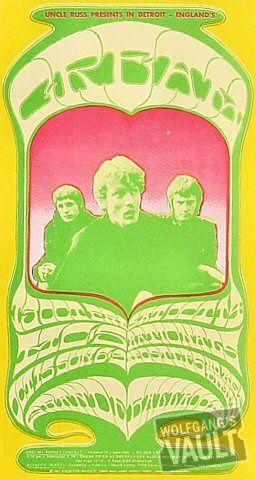 Cream and MC5 Vintage Concert Postcard, Grande Ballroom (Detroit, MI) Oct 13, 1967. Artwork by Gary Grimshaw.