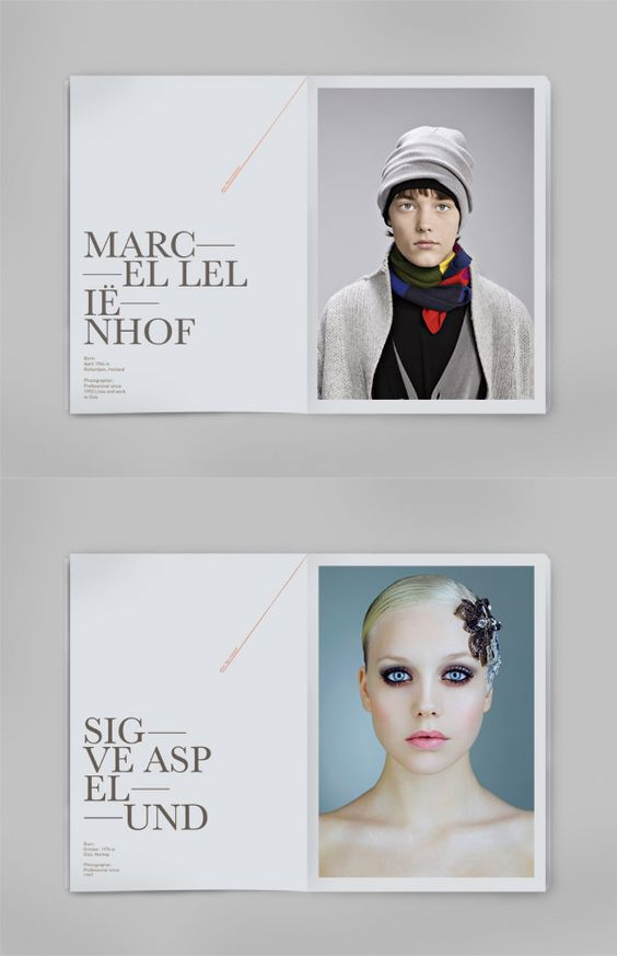 Here is another good example of editorial design. The designer used a large type size and gray color of text to balance out the large portrait on the right. The designer kept it simple letting the portraits speak and the large titles to become a part of the artwork.