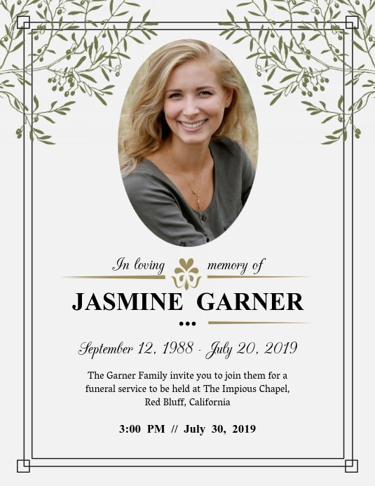 Modern Funeral Service Invite Flyer Funeral Invitation Memorial Service Invitation Funeral