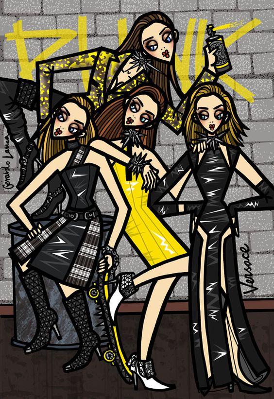 Versace F/W 2013 by Gerardo Larrea #fashion #illustration #art #sketch #girl #cartoon