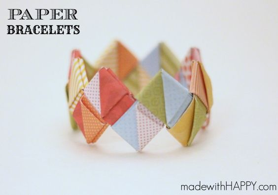 How to make a paper bracelet   Paper crafts for both kids and adults   www.madewithHAPPY.com