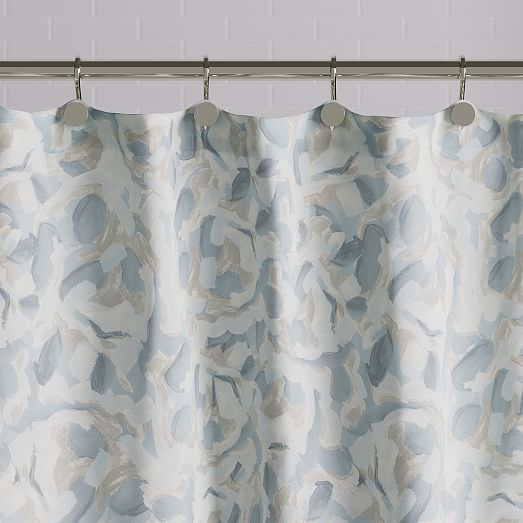 Falling Petals Shower Curtain Blue Bird Blue Shower Curtains