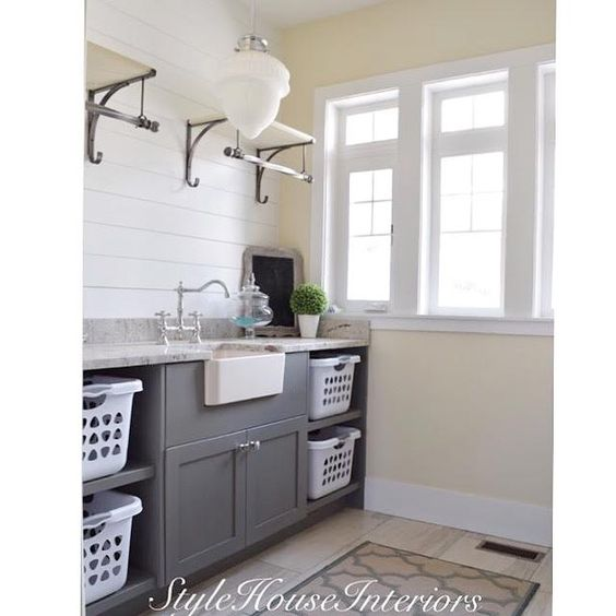 gray cabinets laundry rooms and laundry on pinterest. Black Bedroom Furniture Sets. Home Design Ideas