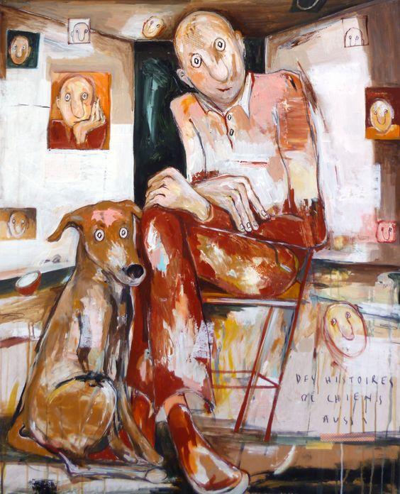 tableau : DES HISTOIRES DE CHIEN par ELISA COSSONNET - Portraits / Nus en Portraits / Nudes,Scènes de vie en  Scenes of life - DF40316DE046
