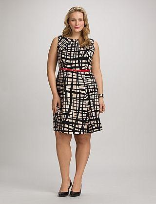 Plus Size Neutral Belted Dress | Dressbarn