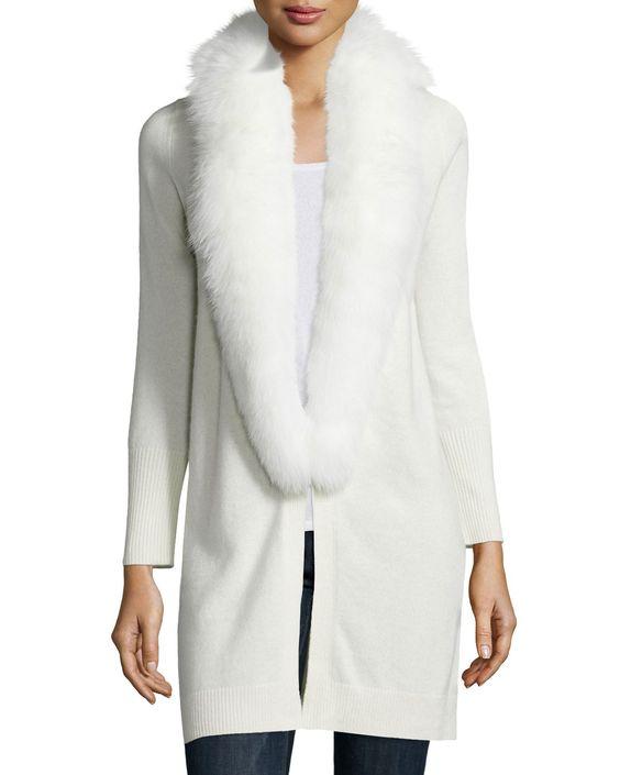 Fur-Trim Cashmere Cardigan, White, Women's, Size: MEDIUM (6-8) - Neiman Marcus Cashmere Collection