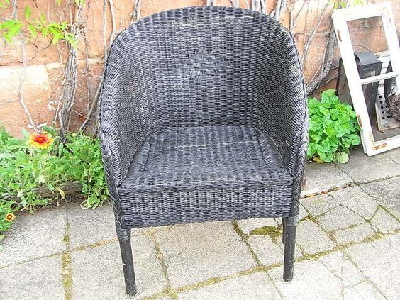 alter korbstuhl rattan garten sessel shabby chic shabby. Black Bedroom Furniture Sets. Home Design Ideas